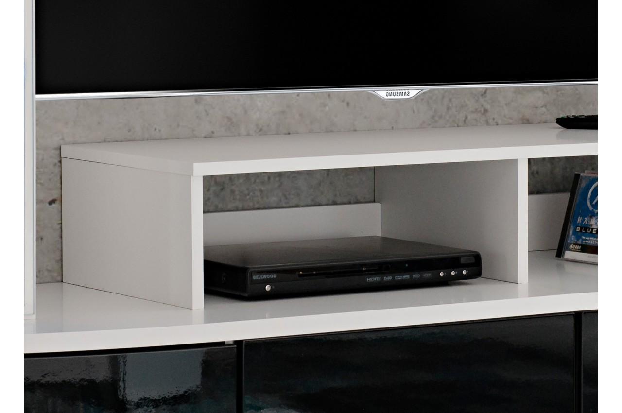 Meuble tv blanc et noir laqu lumineux anton cbc meubles for Meuble noir et blanc