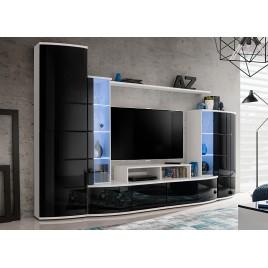 Meuble TV Blanc et Noir Laqué Lumineux ANTON