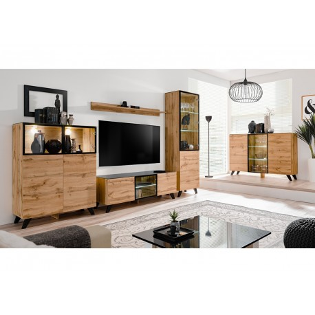 ensemble salon bois et verre lumineux jao cbc meubles. Black Bedroom Furniture Sets. Home Design Ideas