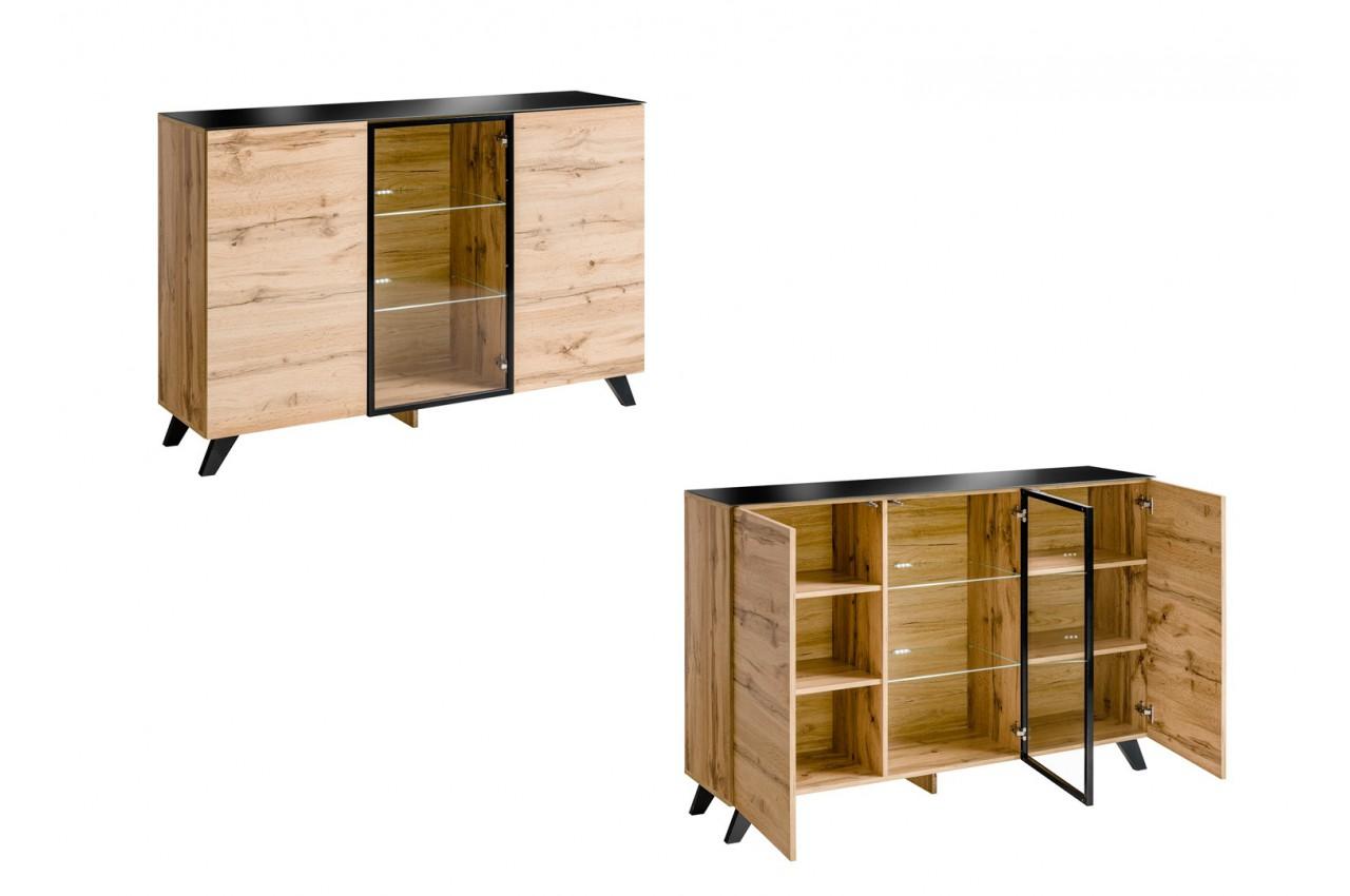 Ensemble salon bois et verre lumineux jao cbc meubles - Meuble en bois ...