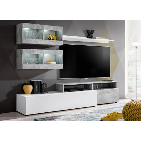 Meuble tv gris et blanc avec clairage lumineux fares for Meuble mural gris