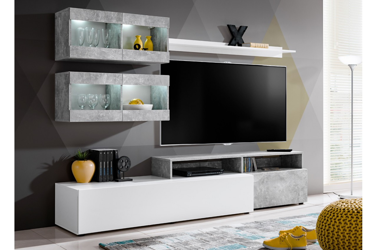 meuble tv gris et blanc avec clairage lumineux fares cbc meubles. Black Bedroom Furniture Sets. Home Design Ideas