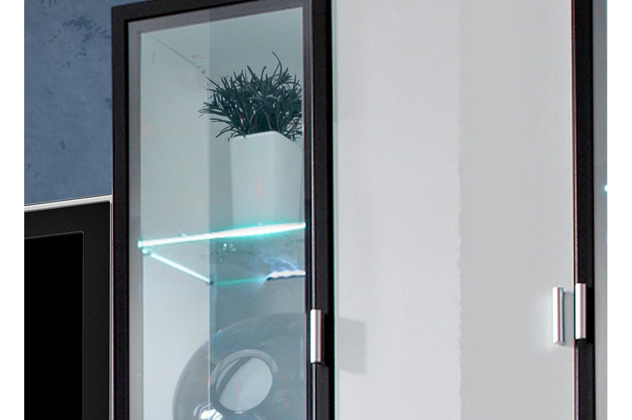 Meuble tv avec vitrine murale et clairage led iceland - Eclairage led pour meuble tv ...