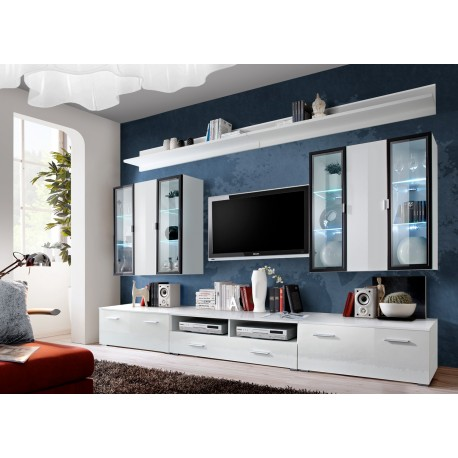 meuble tv avec vitrine murale et clairage led iceland cbc meubles. Black Bedroom Furniture Sets. Home Design Ideas