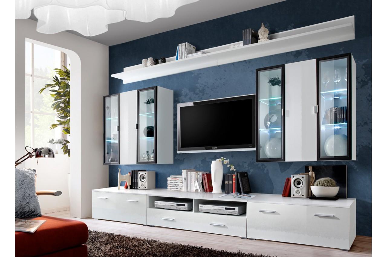 meuble tv avec vitrine murale et clairage led iceland cbc meubles. Black Bedroom Furniture Sets. Home Design Ideas