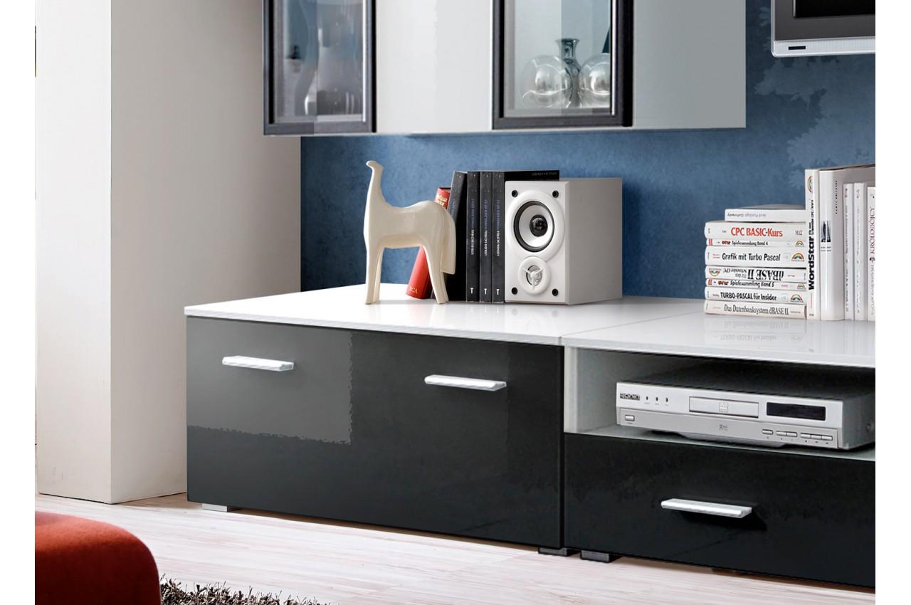 meuble tv mural laqu blanc et noir iceland cbc meubles. Black Bedroom Furniture Sets. Home Design Ideas