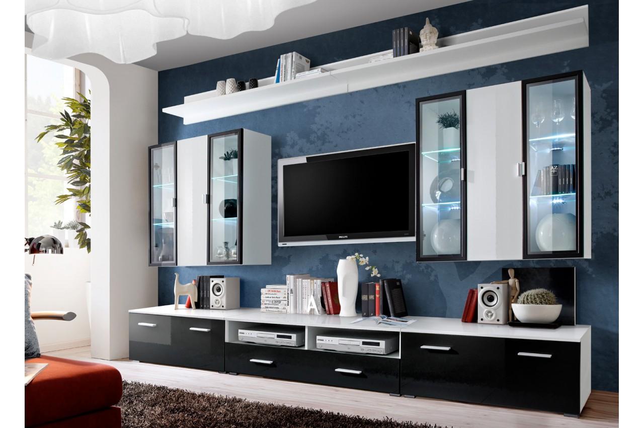 Meuble tv mural laqu blanc et noir iceland cbc meubles for Meuble mural laque noir