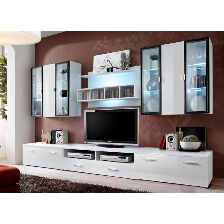 Ensemble tv avec panneau mural et clairage led iceland 1 - Eclairage led pour meuble tv ...