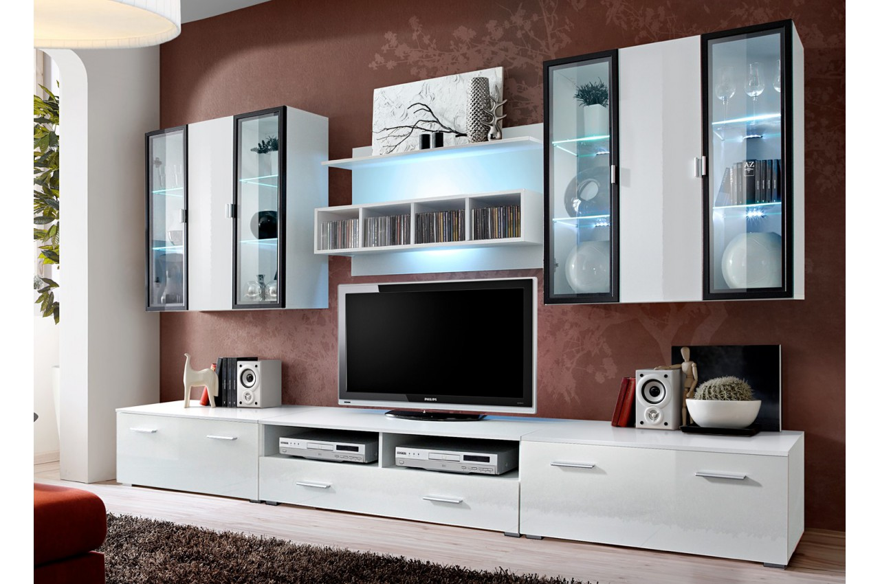 ensemble tv avec panneau mural et clairage led iceland 1 cbc meubles. Black Bedroom Furniture Sets. Home Design Ideas