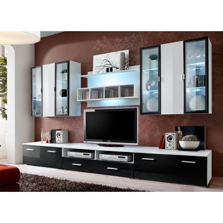 Ensemble TV Mural Laqué Blanc et Noir ICELAND 1