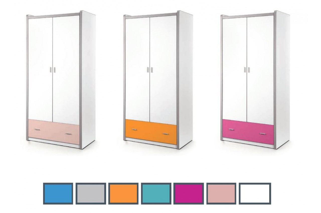 Armoire de rangement blanche 2 portes 1 tiroir jack for Armoire tiroir chambre