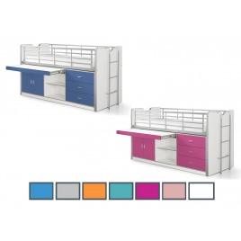 Lit Combiné 7 coloris au choix bureau et rangement JACK