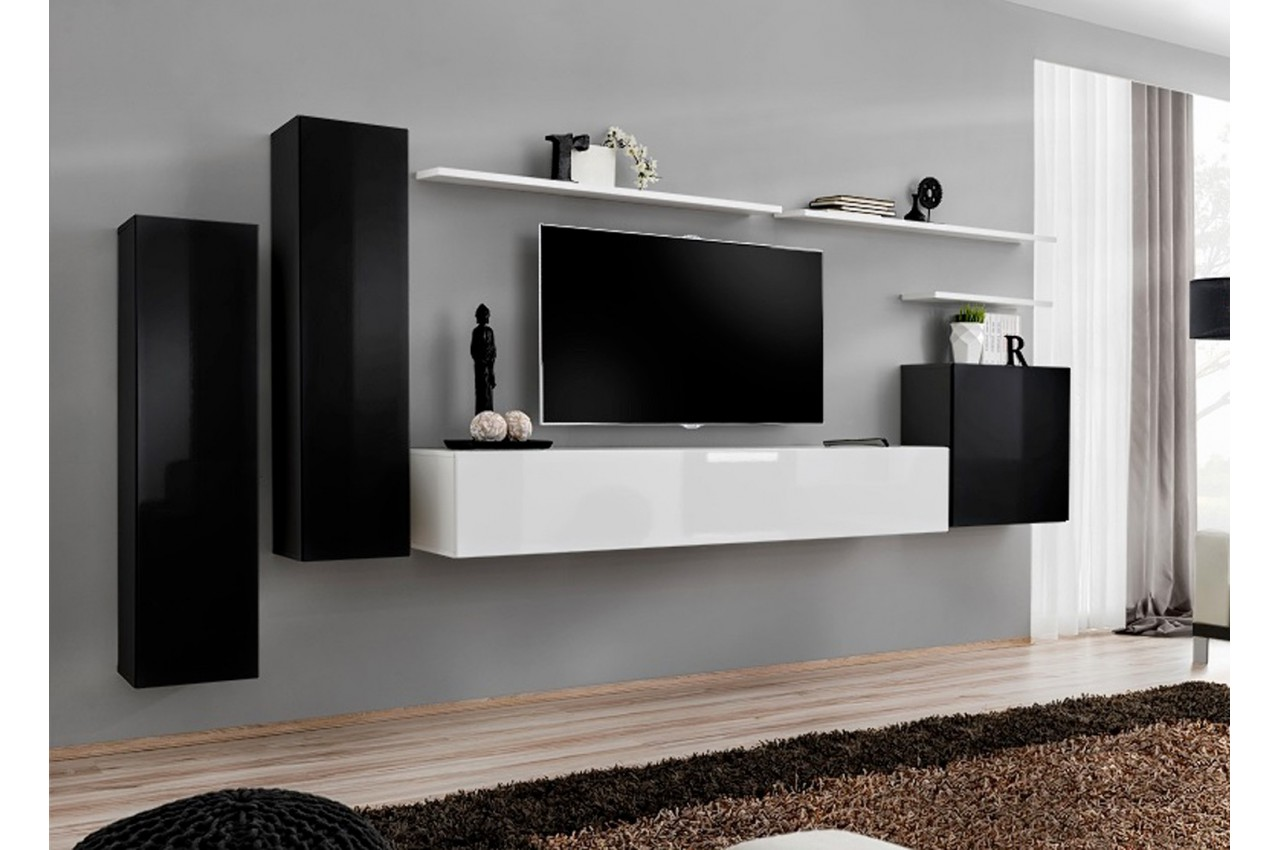 meuble tv mural design italien of meuble suspendu tv. Black Bedroom Furniture Sets. Home Design Ideas