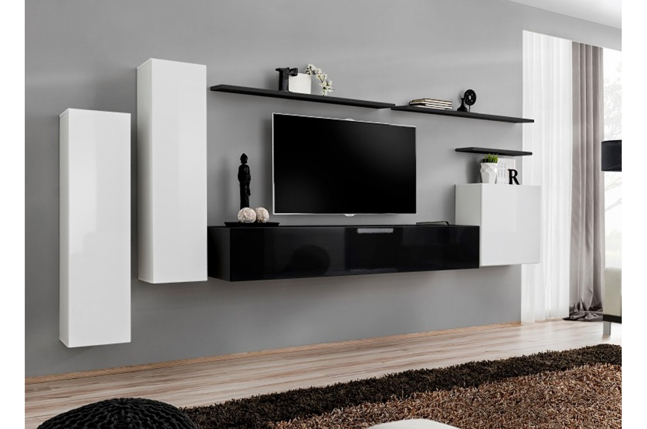 Meuble tv mural suspendu laqu costa 1 cbc meubles for Meuble mural salon