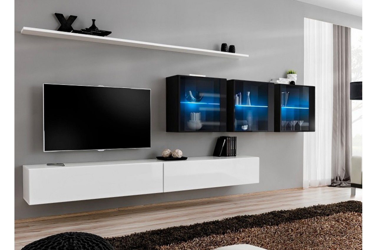 Meuble tv moderne suspendu costa 17 cbc meubles - Meuble tv moderne blanc ...