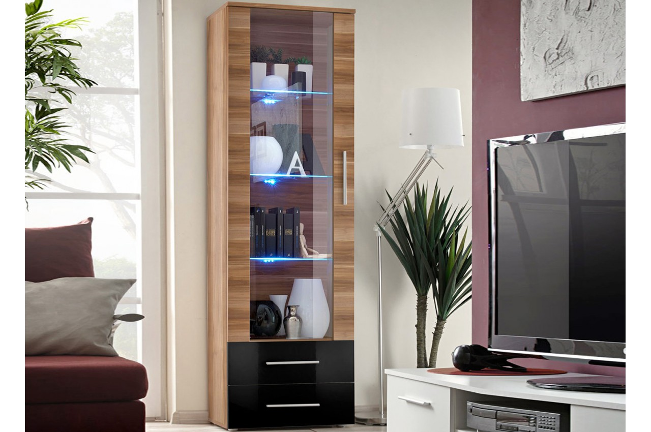 vitrine moderne de salon led cliff cbc meubles. Black Bedroom Furniture Sets. Home Design Ideas