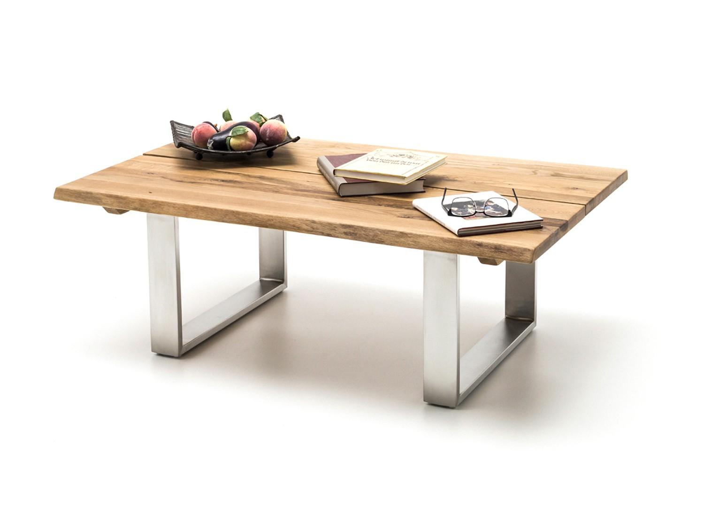 Table basse en bois massif et pieds acier
