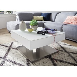 Table basse carrée plateau verre blanc rotatif