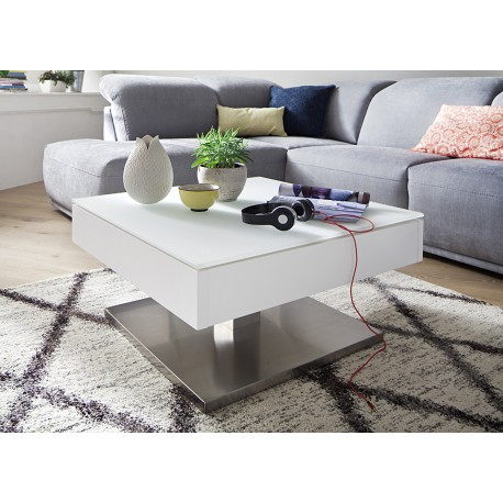 table basse carr e plateau verre blanc rotatif cbc meubles. Black Bedroom Furniture Sets. Home Design Ideas