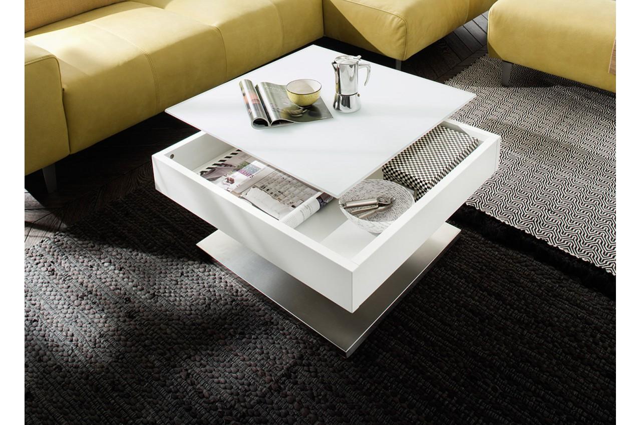 table basse carr e plateau verre blanc rotatif cbc meubles. Black Bedroom Furniture Sets. Home Design Ideas