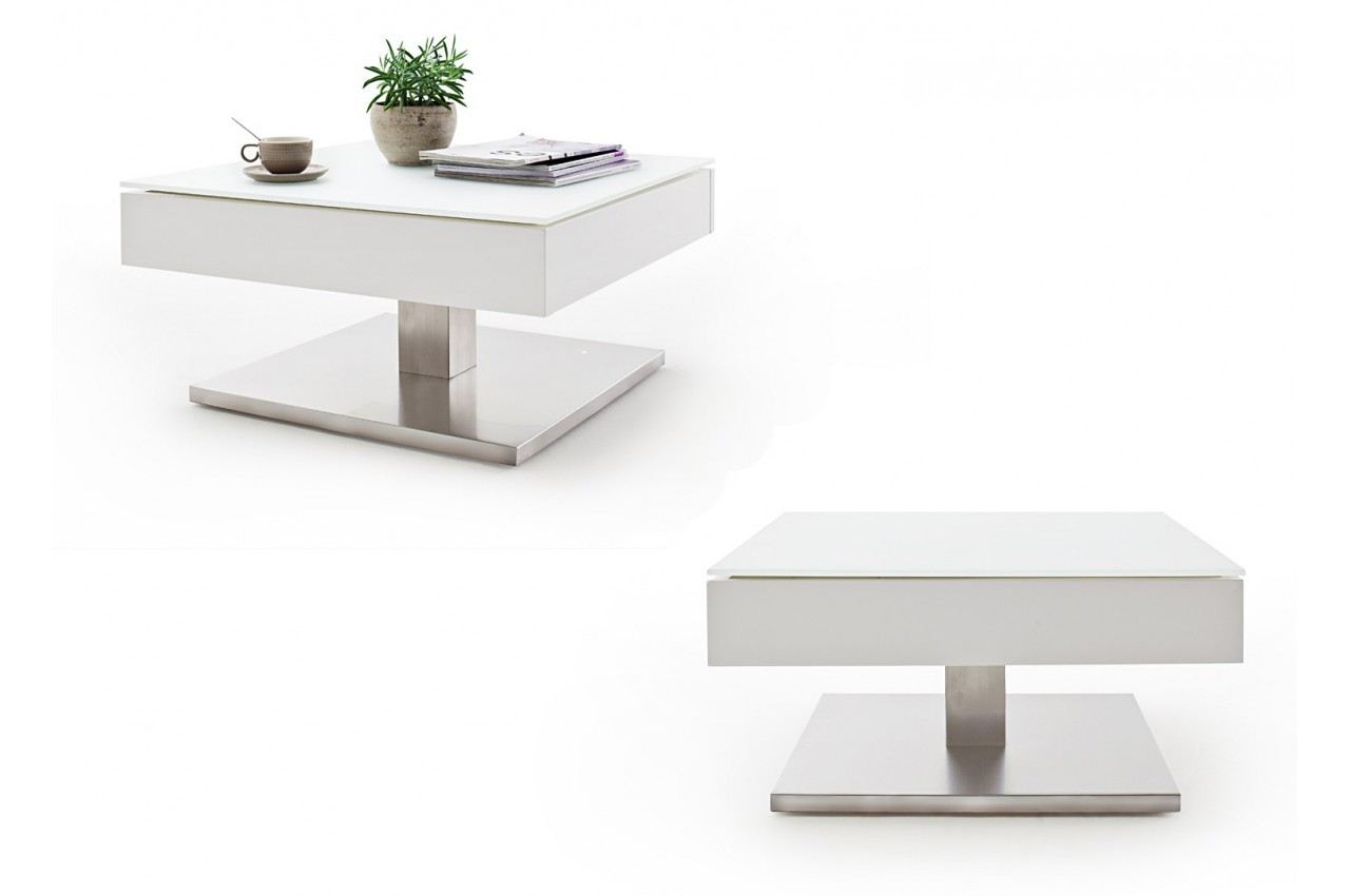 Table basse carr e plateau verre blanc rotatif cbc meubles - Table basse carree blanc ...