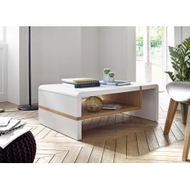 Table basse design blanc laqué et chêne massif