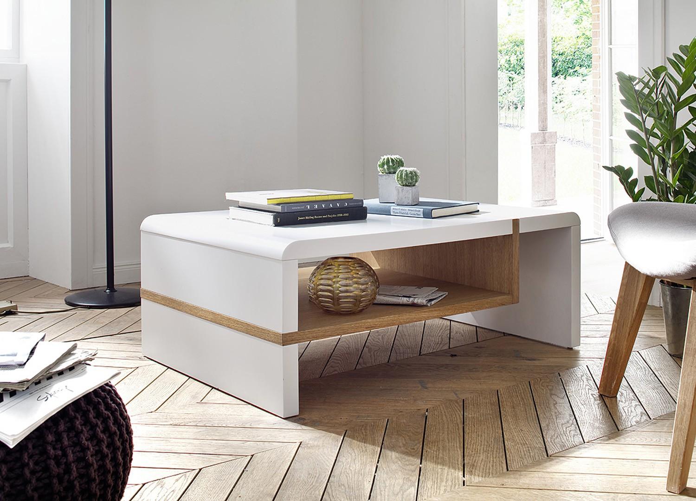 Table basse design blanc laqué mat et chêne massif