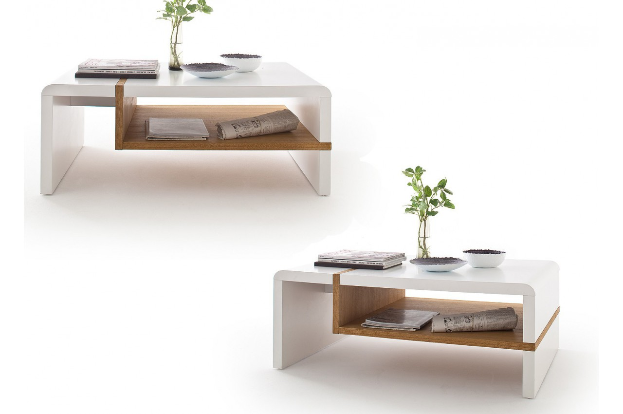 Table basse design blanc laqu mat et ch ne massif cbc meubles - Table basse blanc laque design ...