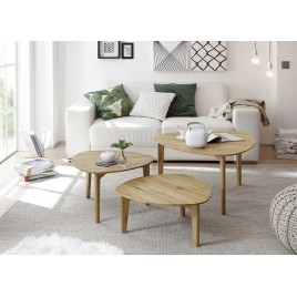 Lot de 3 tables d'appoint chêne massif