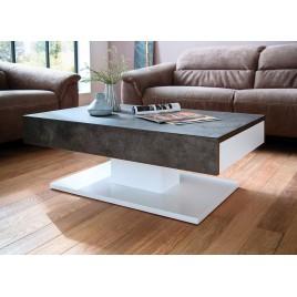 Table basse design 2 tiroirs blanc laqué et béton