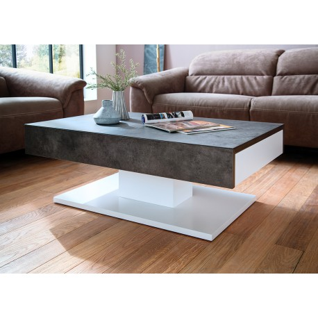 table basse design 2 tiroirs blanc laqu mat et b ton cbc meubles. Black Bedroom Furniture Sets. Home Design Ideas