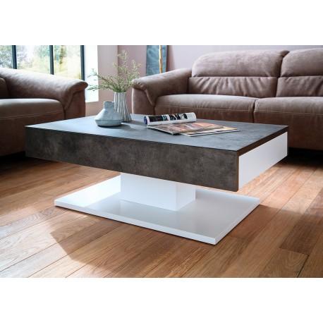 Table Basse Design 2 Tiroirs Blanc Laque Mat Et Beton Cbc Meubles