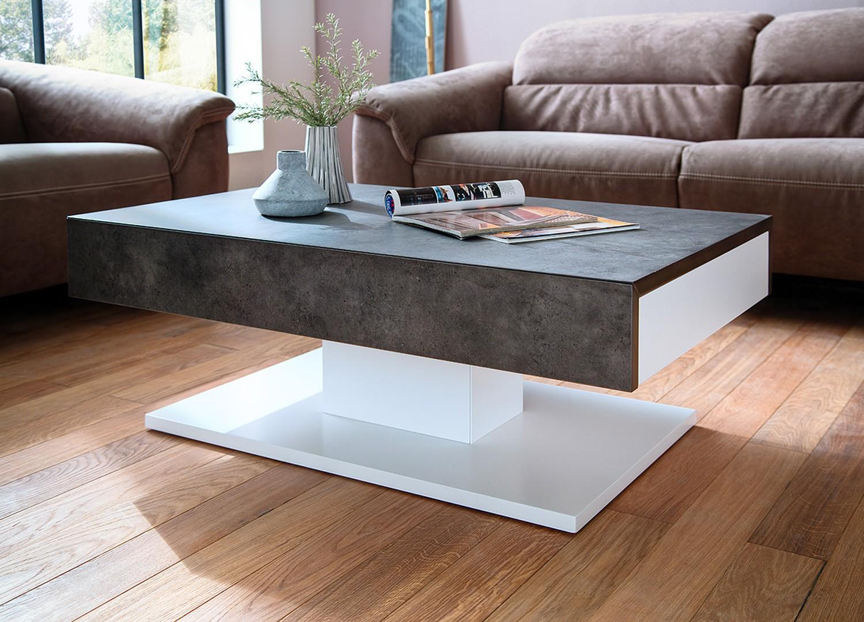 Table basse design 2 tiroirs blanc laqué mat et béton