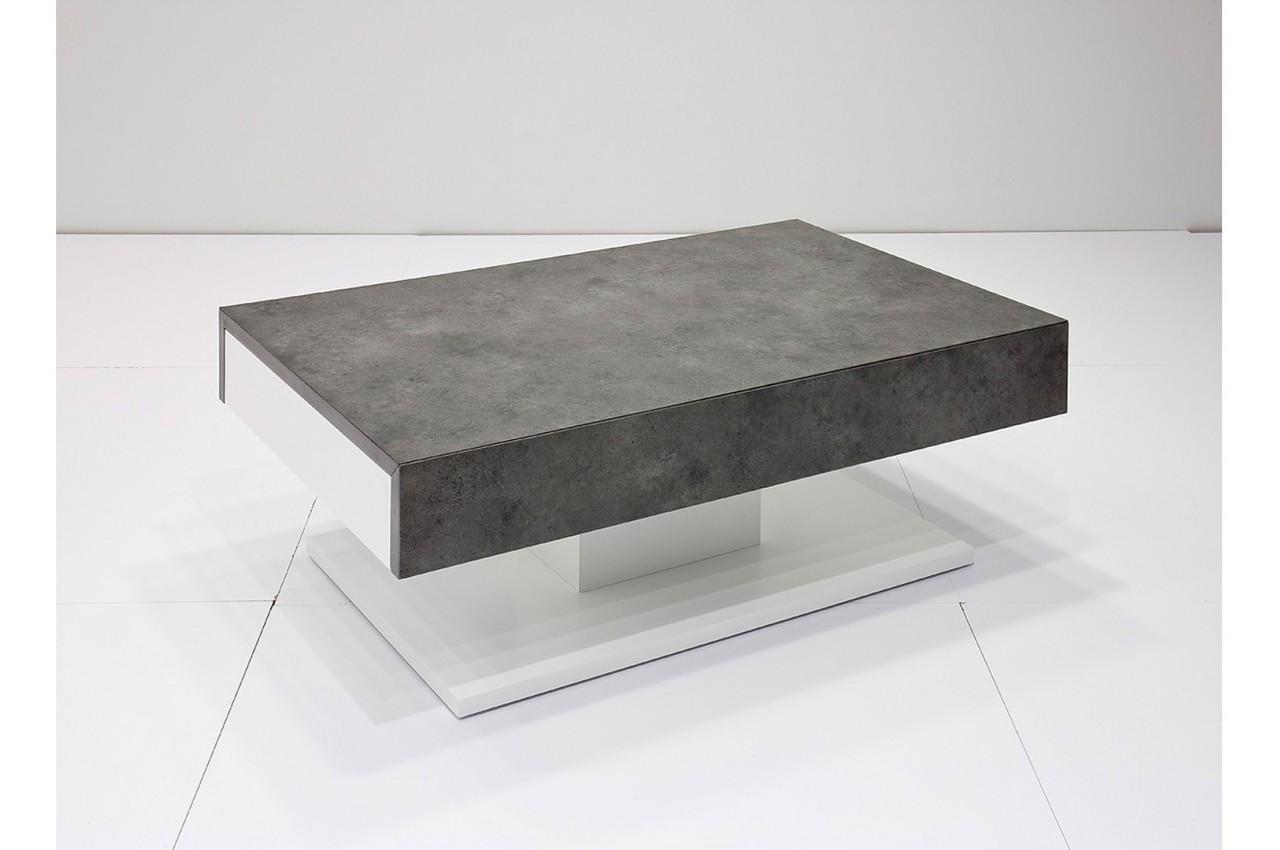 Table Basse Design 2 Tiroirs Blanc Laqu Mat Et B Ton