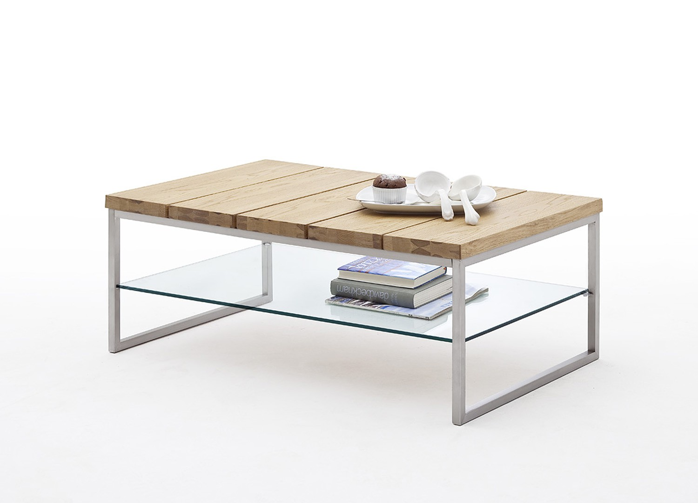 Table basse rectangulaire chêne massif, métal et verre