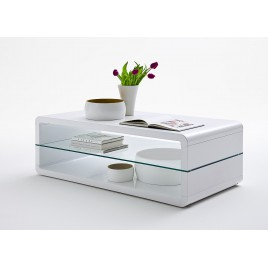 Table basse design rectangulaire blanc laqué