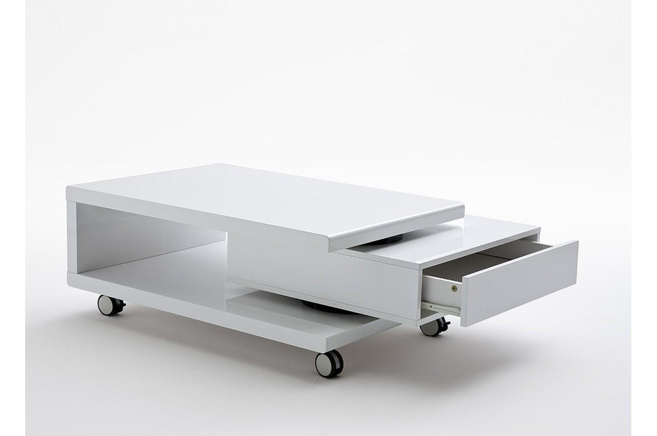 Table Blanc Sur Basse Meubles Roulettes Cbc Laqué OTwPulZikX