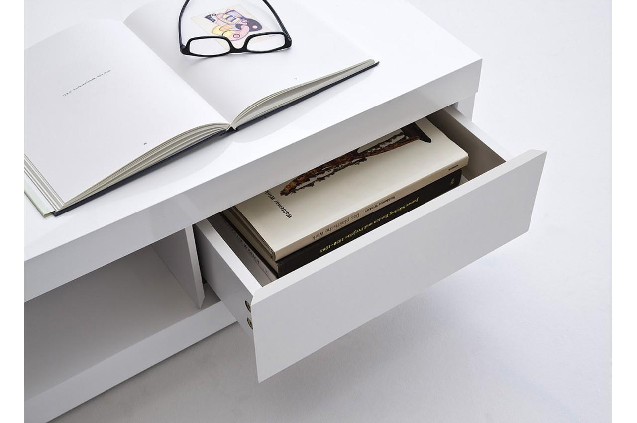 Table Basse Design Carr E Blanc Laqu Cbc Meubles