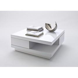 Table basse design carrée blanc laqué