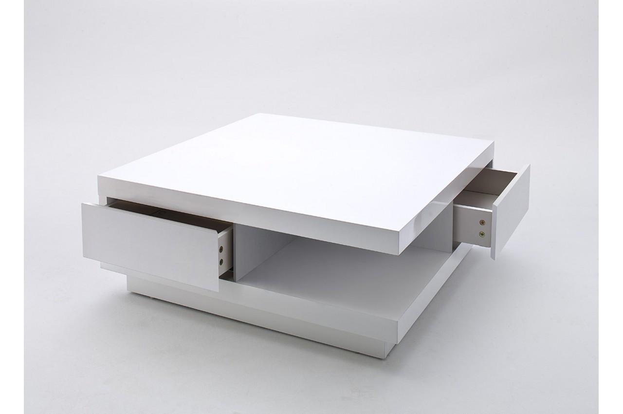 Table basse design carr e blanc laqu cbc meubles - Table basse carree blanc ...