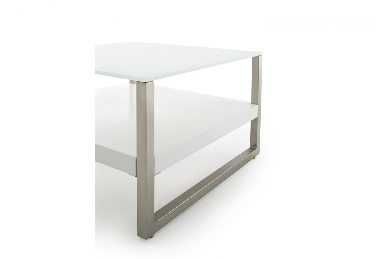 Table basse design blanche et verre blanc cbc meubles - Table basse blanc verre ...