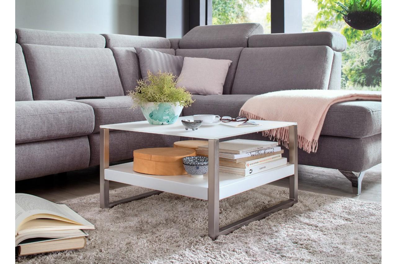 Table basse design blanche et verre blanc cbc meubles - Table basse blanche et verre ...