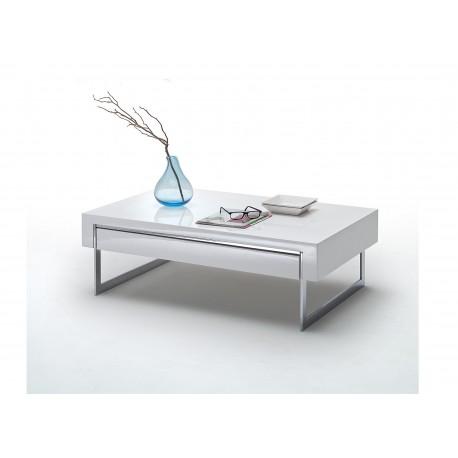 Table basse design blanc laqu et m tal cbc meubles for Table basse metal blanc