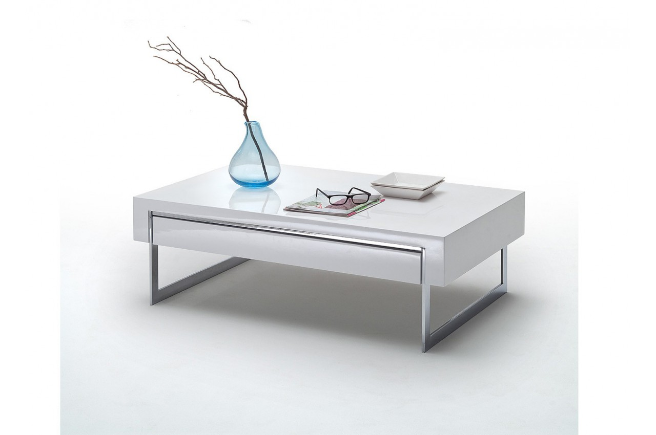Table Basse Design Blanc Laqu Et M Tal Cbc Meubles