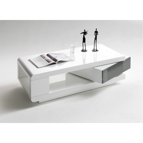 Table basse blanc laqu 1 tiroir cbc meubles - Table basse rectangulaire blanc laque ...