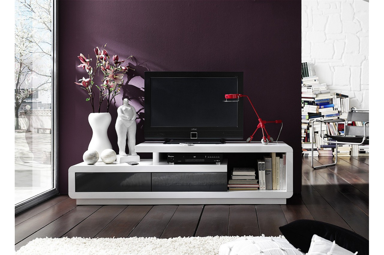 meuble tv design laqu blanc cbc meubles. Black Bedroom Furniture Sets. Home Design Ideas
