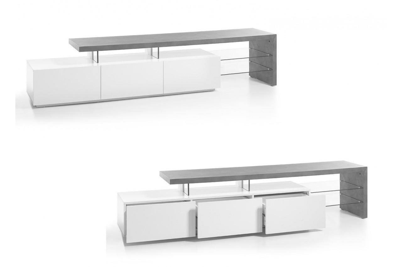 meuble tv design effet b ton et blanc laqu mat 3 tiroirs cbc meubles. Black Bedroom Furniture Sets. Home Design Ideas