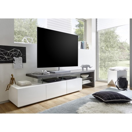 meuble tv design effet b ton et blanc laqu mat 3 tiroirs cbc meubles. Black Bedroom Furniture Sets. Home Design Ideas