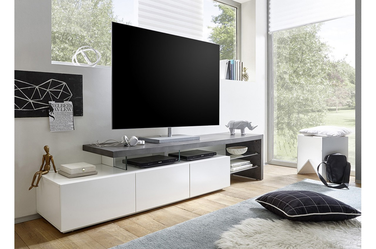 meuble tv design effet b ton et blanc laqu mat 3 tiroirs. Black Bedroom Furniture Sets. Home Design Ideas