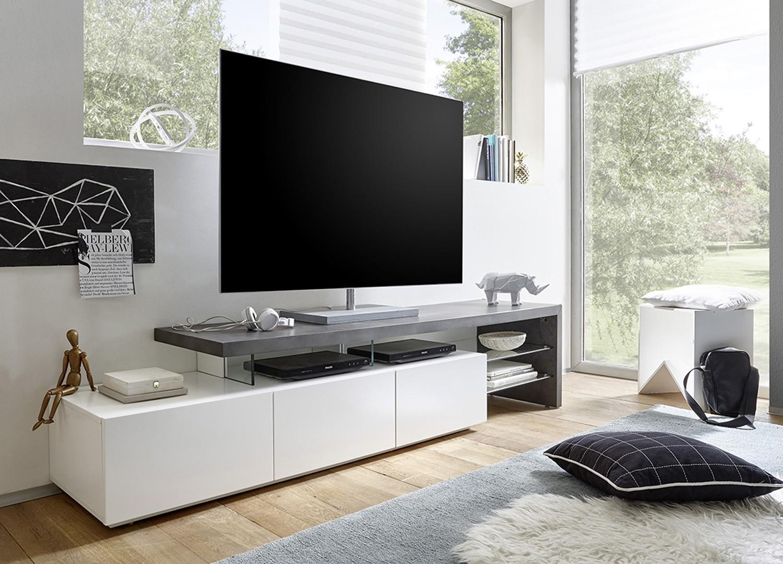 Meuble Tv Design Effet B Ton Et Blanc Laqu Mat 3 Tiroirs Cbc  # Meuble Tv Effet Beton